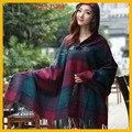 Outono inverno 2015 nova mulher casaco capuz Tops feminino grossas étnica xadrez Jacquard capa com capuz lenços xales