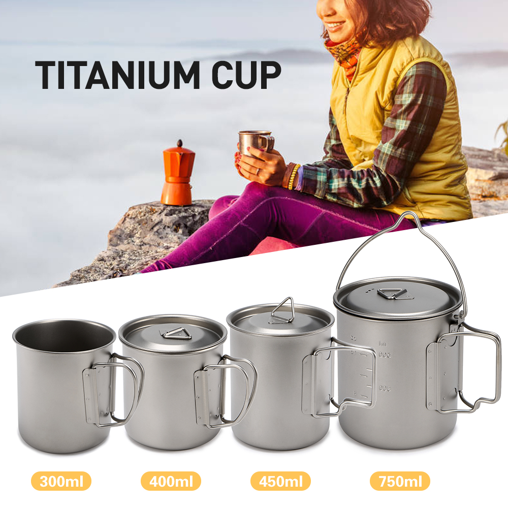 dc440b4a1fc Ultralight Titanium Cup Outdoor Portable Mug Camping Picnic Water Cup with Foldable  Handle 300ml / 400ml / 450ml / 750ml