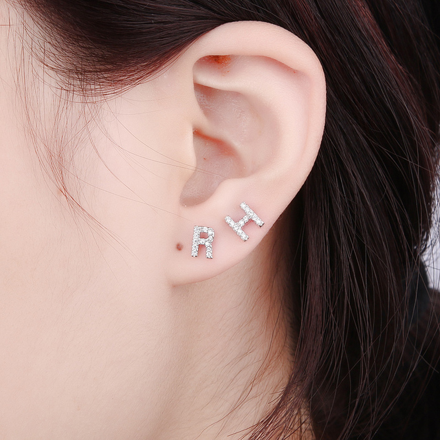 stud gift color earrings letter item cute triangle for gold v women fashion plated