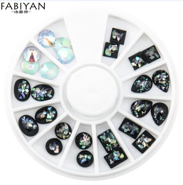 Nail Art Wheel DIY Design 3D Tips Decoration Acrylic Black Chameleon ...