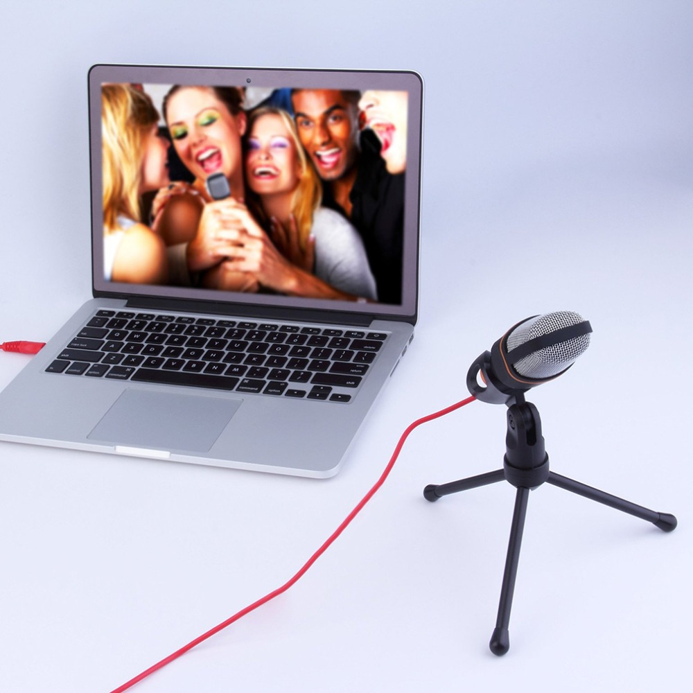 Professional 3.5mm Audio Condenser Sound Studio Recording Singing Broadcasting Microphone Mic With Tripod For PC Laptop