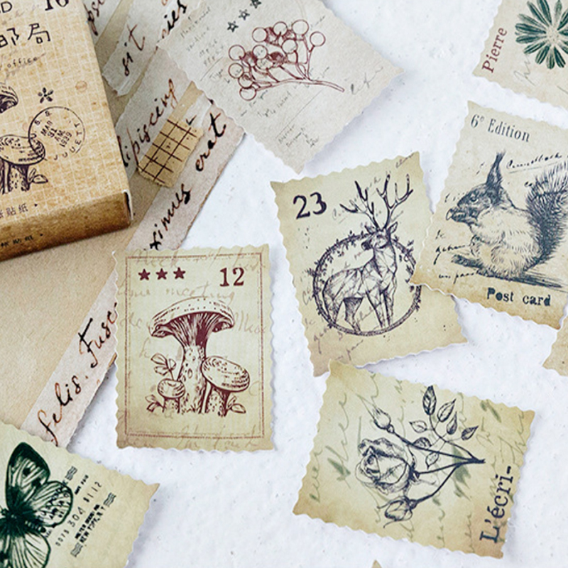 46pcs/pack Animal And Cute Vintage Multiple Designs Paper Stamp Sticker Card Decoration Sticker Label For Notebook And Envelope