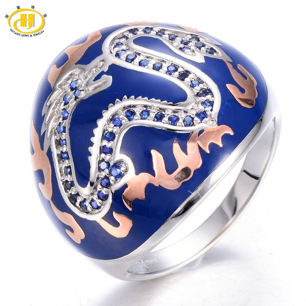 HUTANG Created Blue Sapphire Enamel Solid 925 Sterling Silver Ring Chinese Element Dragon Fine Jewelry 11.11 все цены