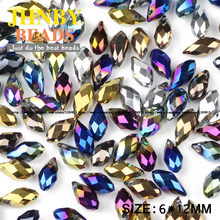 JHNBY Briolette Pendant Waterdrop Austrian crystal beads 6*12mm50pcs Plating Teardrop glass bead for jewelry making bracelet DIY()