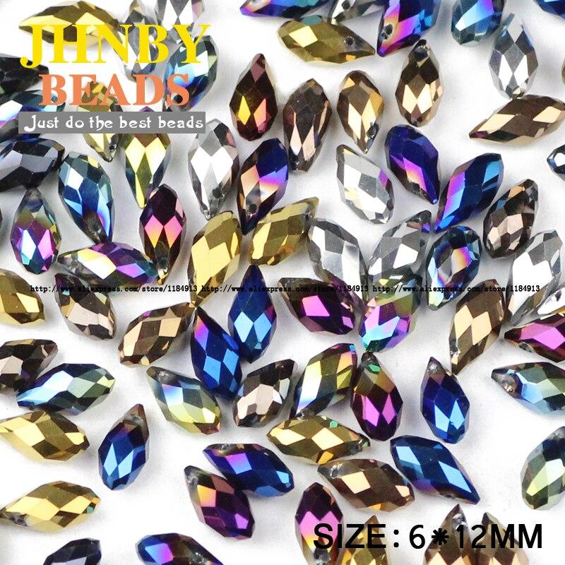 JHNBY Briolette Anhänger Waterdrop Österreichischen kristall perlen 6 * 12mm50pcs Überzug Teardrop glas perle für schmuck machen armband DIY