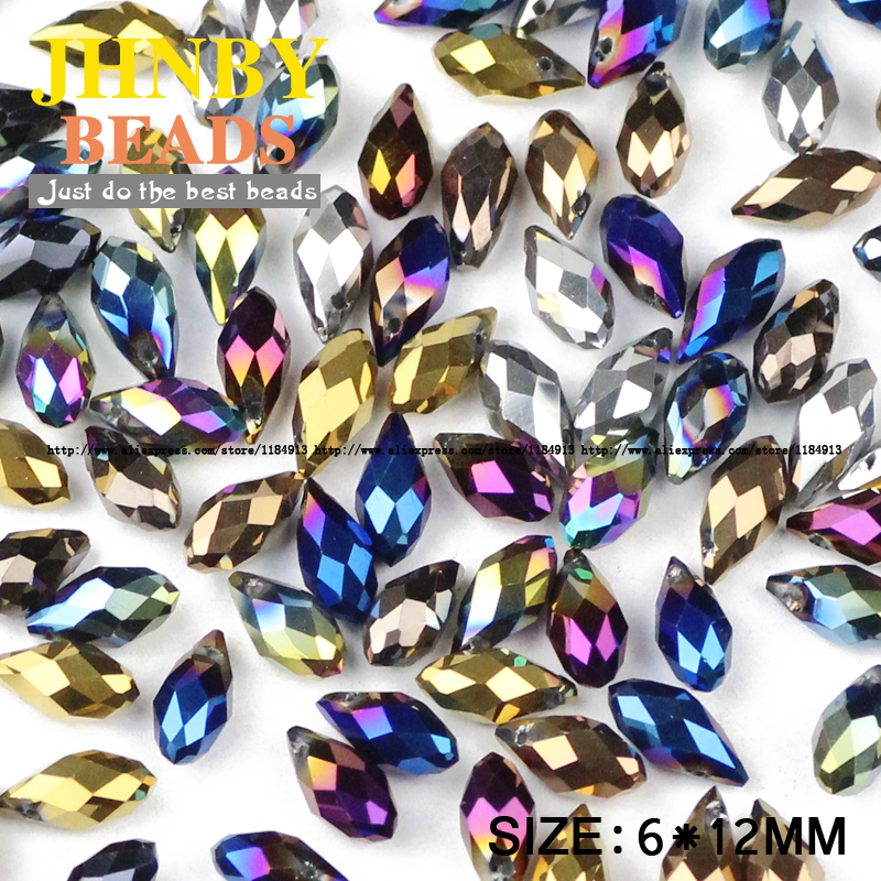 JHNBY Briolette Pendant Waterdrop Austrian Crystal Beads 6*12mm50pcs Plating Teardrop Glass Bead For Jewelry Making Bracelet DIY