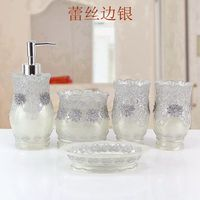 Continental Lace Resin Five piece bathroom Brushing Cup Set Wash kit Free shipping promotion