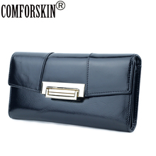 COMFORSKIN Brand Premium Genuine Oil Waxing Leather Multi-function Long Retro Women Wallets European And American Clutch Purses