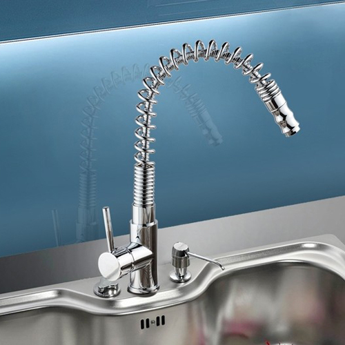 Deck Mounted Spring pull out Kitchen Faucet Chrome pull down Spray Water Tap Luxury Sink LH