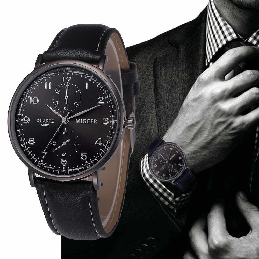 Men watches fashion 2019 watch men luxury brand Retro Design Leather Band Analog Alloy Quartz Wrist Watch relogio masculino 30y