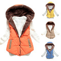 Hot new women's autumn and winter 2014 fashion hooded thick warm down cotton vest cotton vest wild big yards 0045