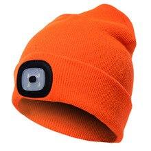 4 Светодиодный светильник вязанная шапка зимние теплые шапки унисекс яркие оранжевые/черные/розовые шапочки для охоты на открытом воздухе, кемпинга, пеших прогулок и взрослых