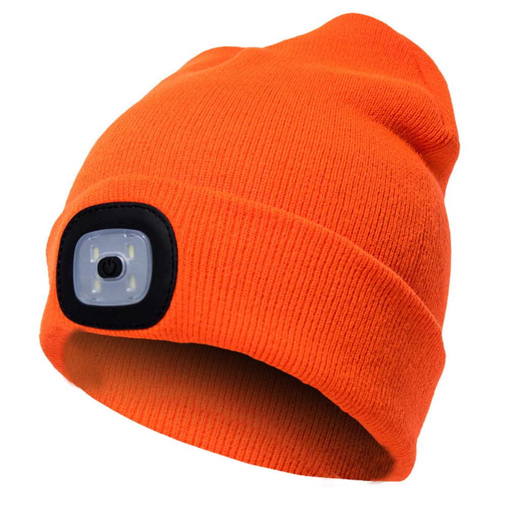 4 LED Light Up Knitted Hat Winter Unisex Warm Caps Bright Orange/Black/Pink Beanie For Outdoor Hunting Camping Hiking And Adults