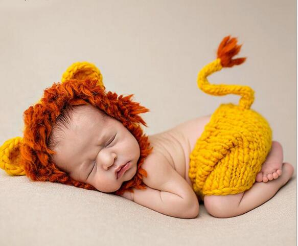 Newborn Baby Photography Props Knit Crochet Newborn Photo Clothing Animal Lions Costume Cute Lovely Baby 0 6 Months Girls Boys