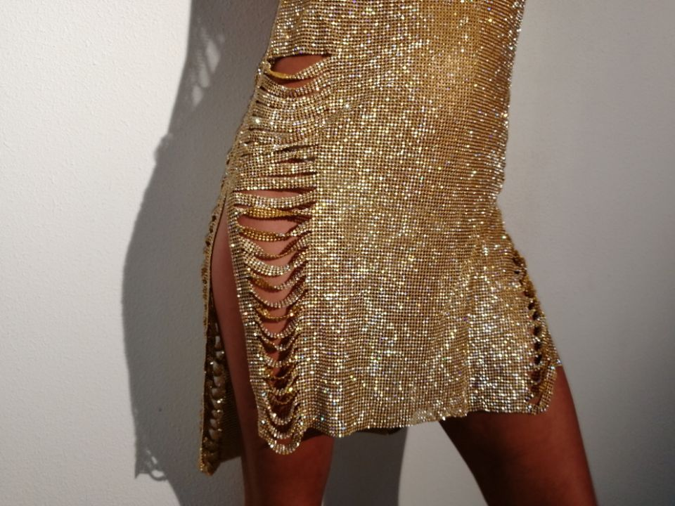 Chaîne Or Sling Club Sequin Métal En Party Argent Super Night Femmes Sexy Robes Diamant Vêtements Robe qvfqw1