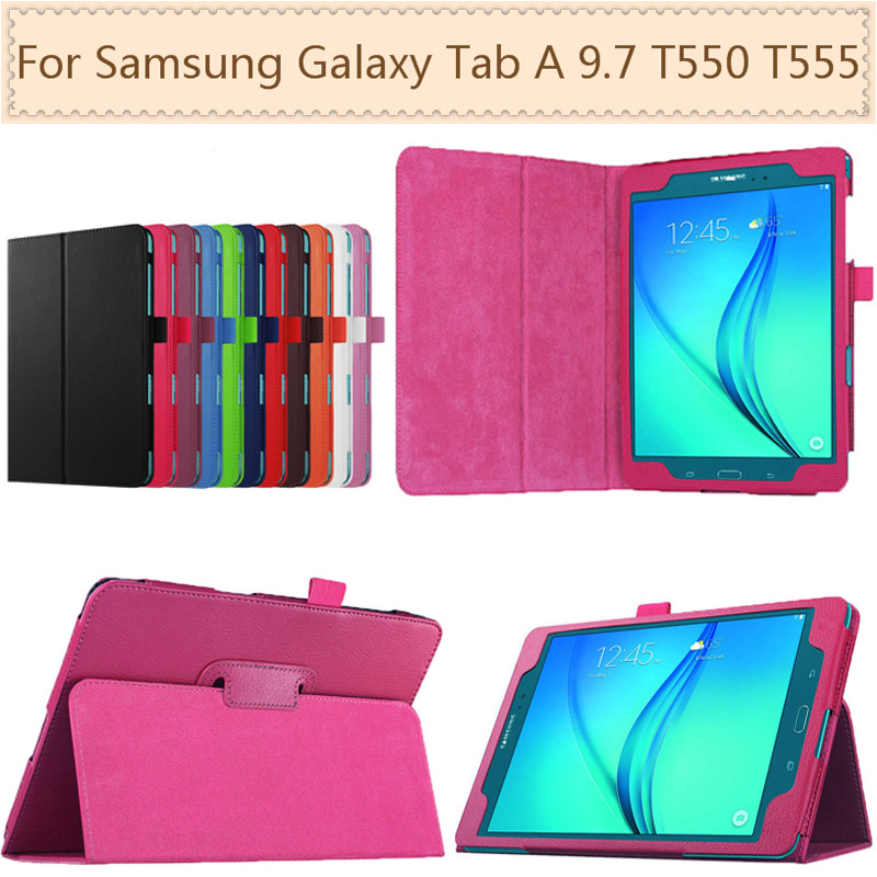 Leather Women Business Protective Shell <font><b>Cover</b></font> <font><b>Case</b></font> For <font><b>Samsung</b></font> <font><b>Galaxy</b></font> <font><b>Tab</b></font> A 9.7 <font><b>SM</b></font>-<font><b>T550</b></font> T555 <font><b>T550</b></font> Waterproof Tablet Accessories image