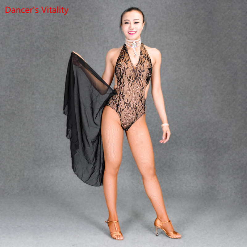 2018 New Women Girls Latin Dance Dress Salsa Dance Dresses Sexy Lace Body Suit For Adult Child Dancing Competition Costumes
