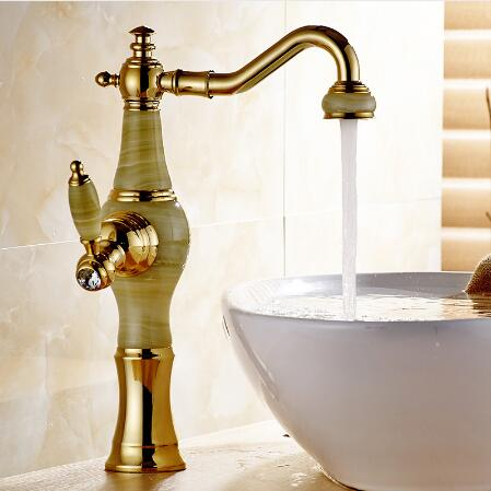 New luxury Golden Brass Jade Body Water tap Bathroom Basin Faucet Deck Mounted Counter top Sink Mixer Tap Hot and cold цена