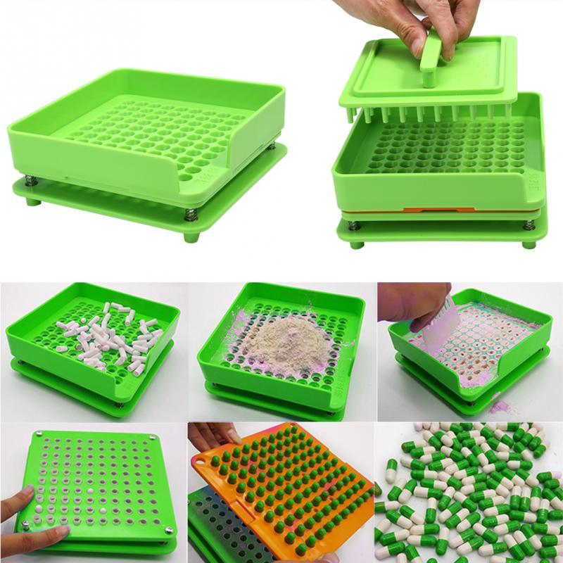 Capsule Filling Machine,capsulator With Tamping Tool( 6 Parts In All) (0# Capsule)100 Holes ABS Material Manual Capsule Fillers,