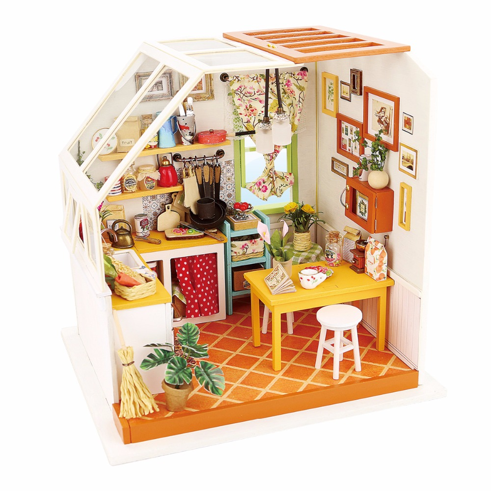 1:12 LED 3D Wooden Puzzle Model Miniatures Jasons Kitchen Doll House Furniture DIY Collection Christmas Toys For Children Gift