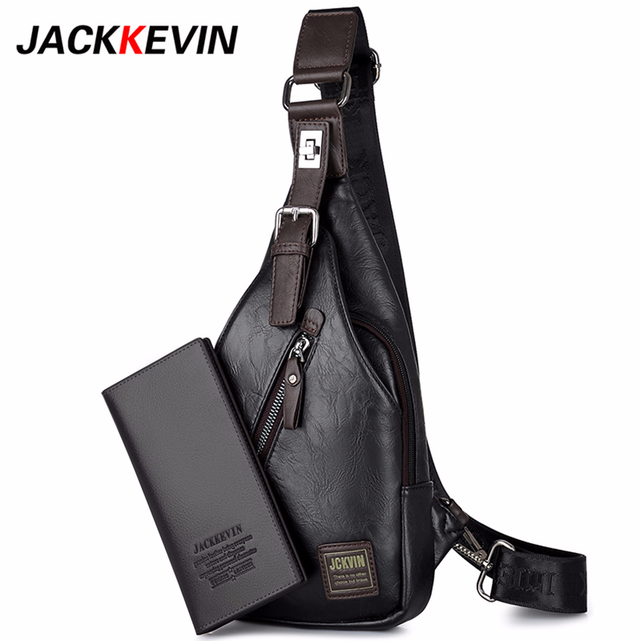JackKevin Men s Fashion Crossbody Bag Theftproof Rotatable Button Open Leather Chest Bags Men Shoulder Bags