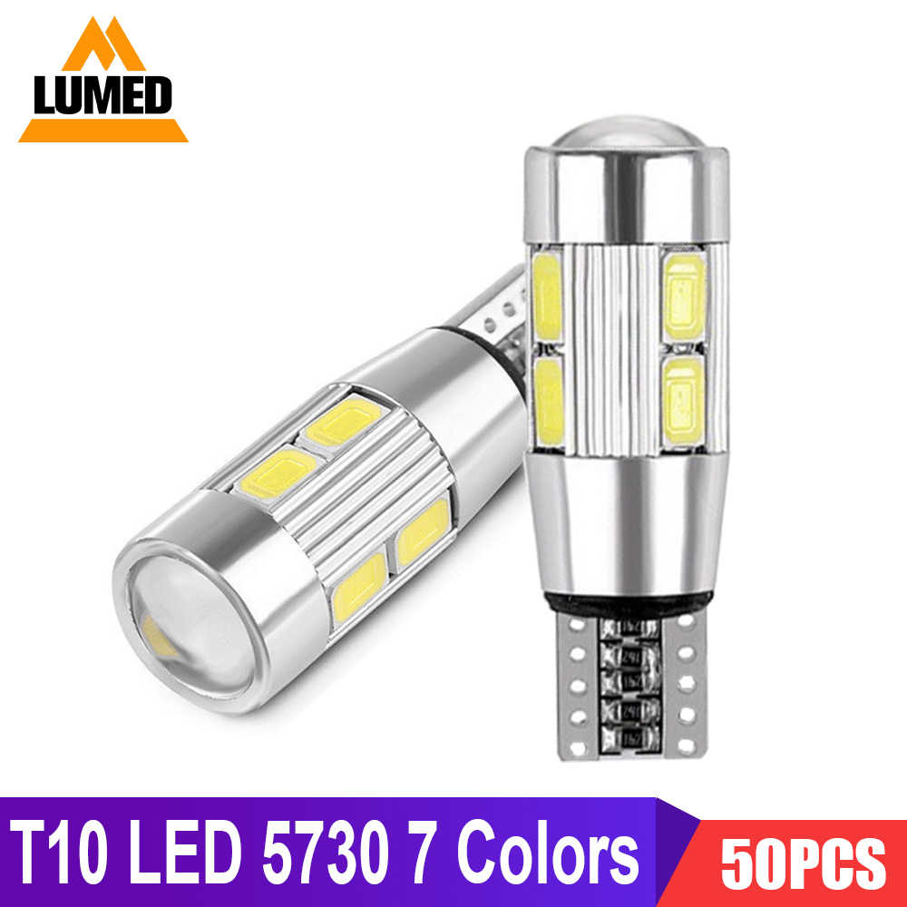 50x T10 LED W5W Car light Bulb Luces LED Para Auto Interior Dome lights 194 10 SMD 5730 LED Side Parking marker lamp