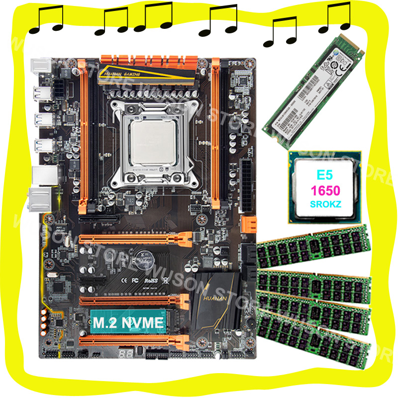 HUANAN ZHI X79 motherboard with CPU Intel Xeon E5 1650 C2 3.2GHz motherboard with M.2 128G NVME SSD RAM 4*16G DDR3 1600 REG ECC huanan v2 49 x79 motherboard with pci e nvme ssd m 2 port cpu xeon e5 2660 c2 ram 16g ddr3 recc support 4 16g memory all tested