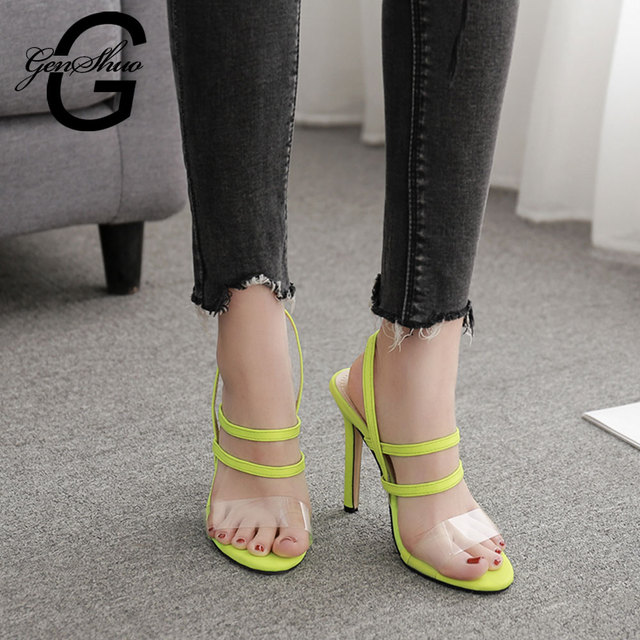 GENSHUO Gladiator Shoes Women Black Heels Night Club Dance Shoes Fluorescent Yellow Heels Sandalias Mujer 2019 Zapatos De Shoes