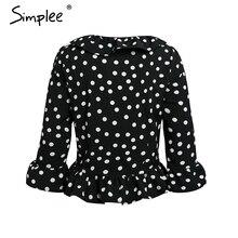 Simplee Sexy red dot ruffle blouse women Vintage long sleeve blouse shirt Streetwear V-neck cotton summer blouse femme 2018