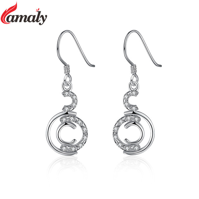 Brand Name Jewelry 925 Silver Women S Earrings Fashion Simple Cc Design Zircon Crystals Dangle For