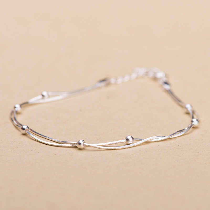 Korean Fashion Simple Double layer Round Bracelets For Women 30% Silver 925 Jewelry Elegant Wild Copper Charm Bracelet