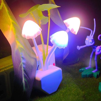 Mushroom Fungus LED Night Light EU US Plug Light Sensor 220V 3 LED Colorful Wall Socket Lamp Night Lights Home Bedroom Decoratio pro svet light led mushroom
