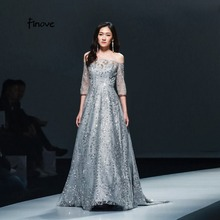 Finove Grey Beading Prom Dress Modern Style 2019 Ball Gown