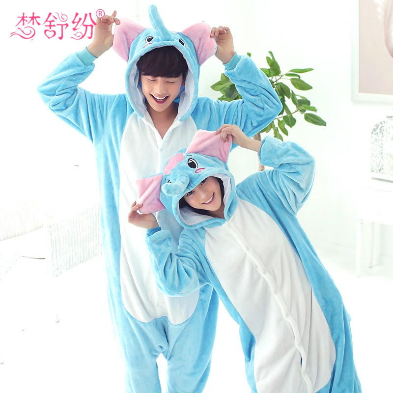 Retail Blue Elephant Onesie Adult Unisex Cosplay Costume Flannel Animal Pajamas All In One Party Sleepwear For Men Women Adults