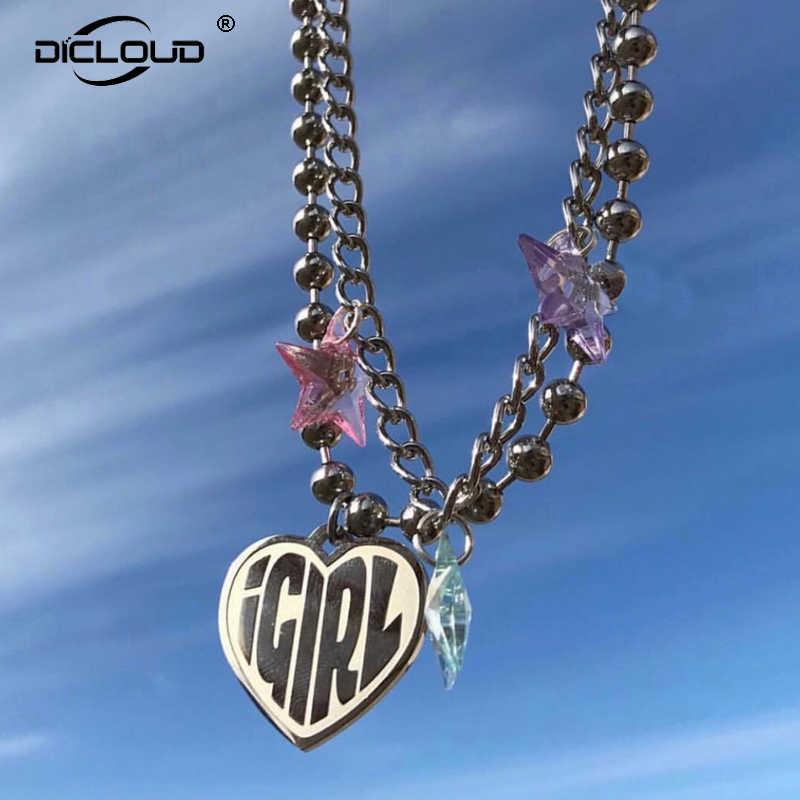 Vintage 90s Igirl Heart Pendant Necklace Sliver Chain Harajuku Women Letter Necklace Stainless Steel Punk Beads Choker Gift
