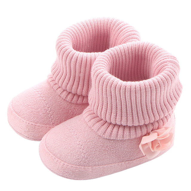 1da2608f6 Baby Girls Boots for Newborn Toddler Socks Pink Flowers New Style Infant  Baby Shoes Winter Warm Booties Support Drop Shipping