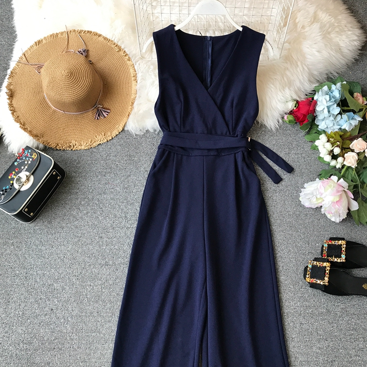 ALPHALMODA 2019 Spring Ladies Sleeveless Solid Jumpsuits V-neck High Waist Sashes Women Casual Wide Leg Rompers 72