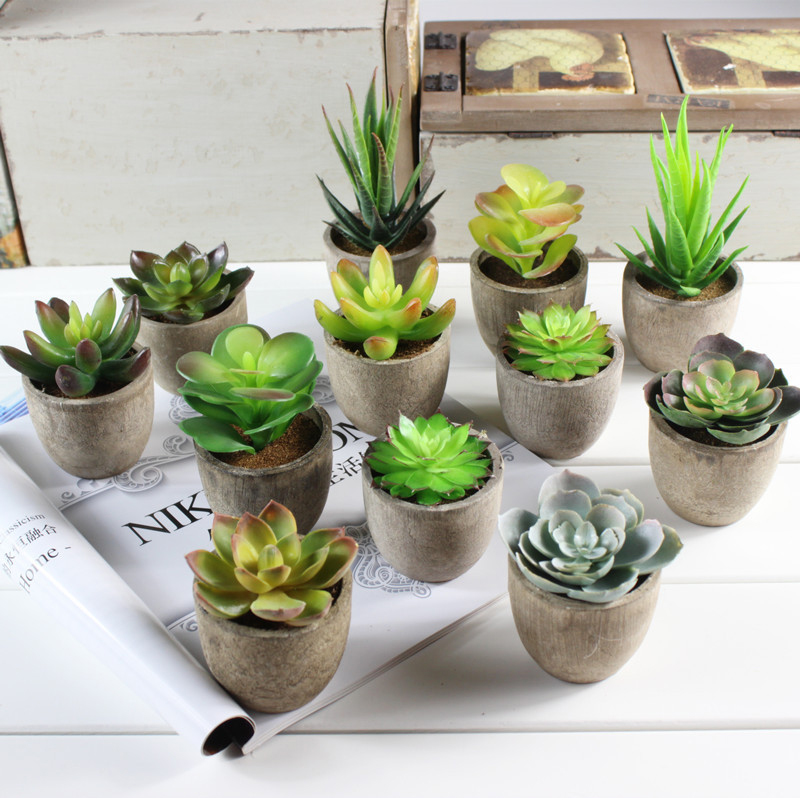Xuanxiaotong 1pc Super Cute Mini Succulent Artificial Plants Bonsai Pot For Home Table Decoration Garden Decor Craft Supplies