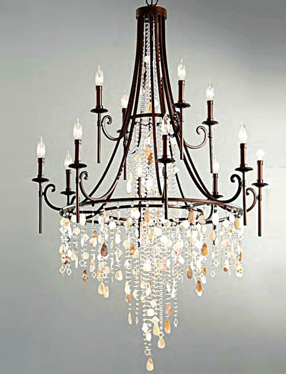 Fashion Bar Retro Black Shell Chandelier Crystal Lamparas Large Iron Er Hotel Villa E14 Led Novelty Lighting In Chandeliers From Lights