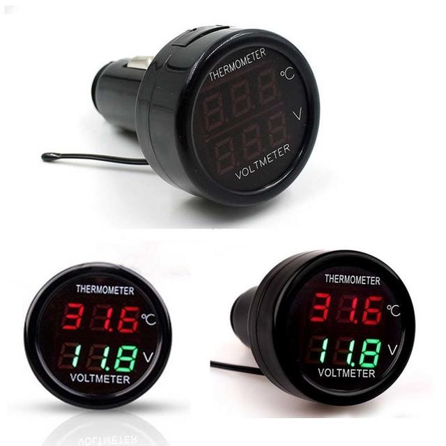 2 In 1 DC 12V 24V LED Digital Display Waterproof Car Voltmeter Thermometer Temperature Meter Monitor Voltage Cigarette Lighter