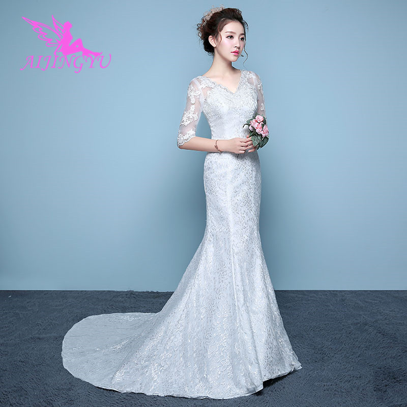 AIJINGYU 2018 V-neck Free Shipping New Hot Selling Cheap Ball Gown Lace Up Back Formal Bride Dresses Wedding Dress WK271