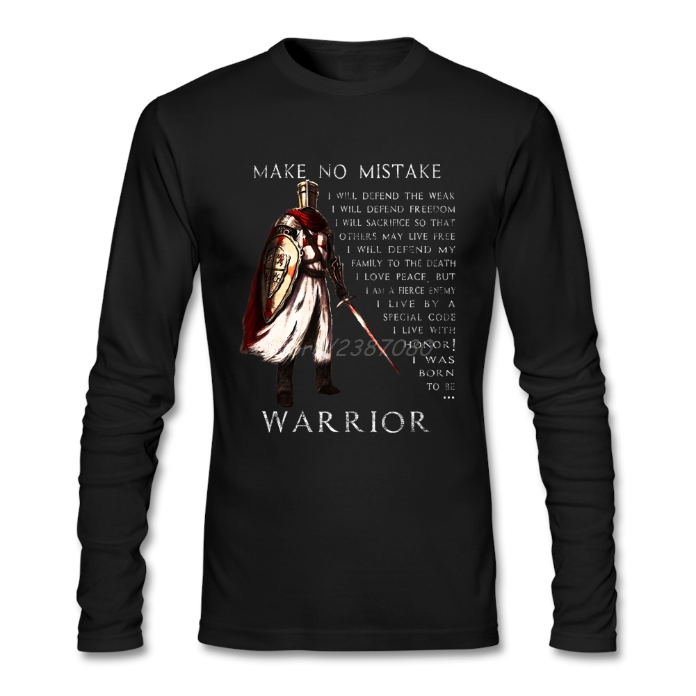Knights Templar Warrior T Shirt Custom Long Sleeve Brand-clothing Hip Hop Harajuku Cotton Crewneck Funny T Shirts