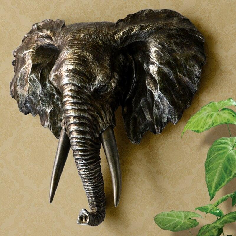 Moda Testa di Elefante Scultura Wall Hanging Selvatico Africano Animale Statua Art and Craft Ornamento per la Casa, Pub e Office Decor