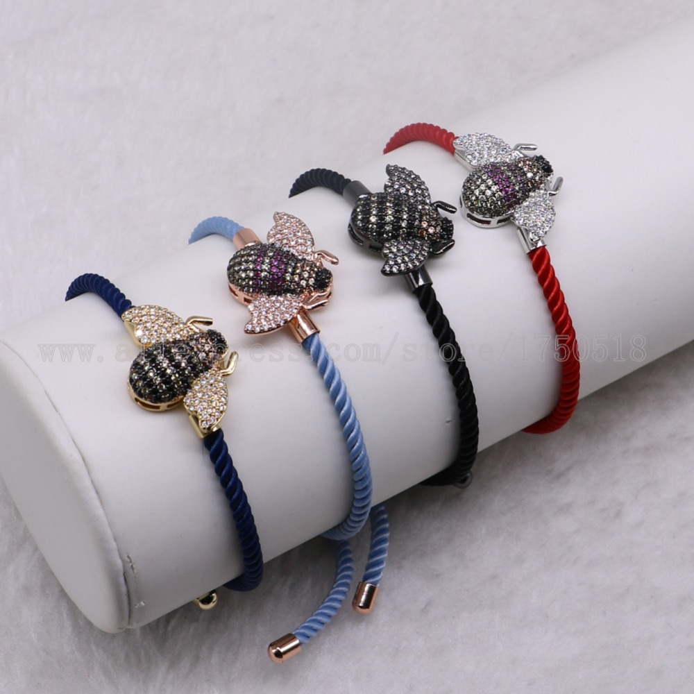 5 pcs mix colors small bee bracelets rope chain mix colors bracelet bangle with zircon charm beads crafted bugs bracelets 3277