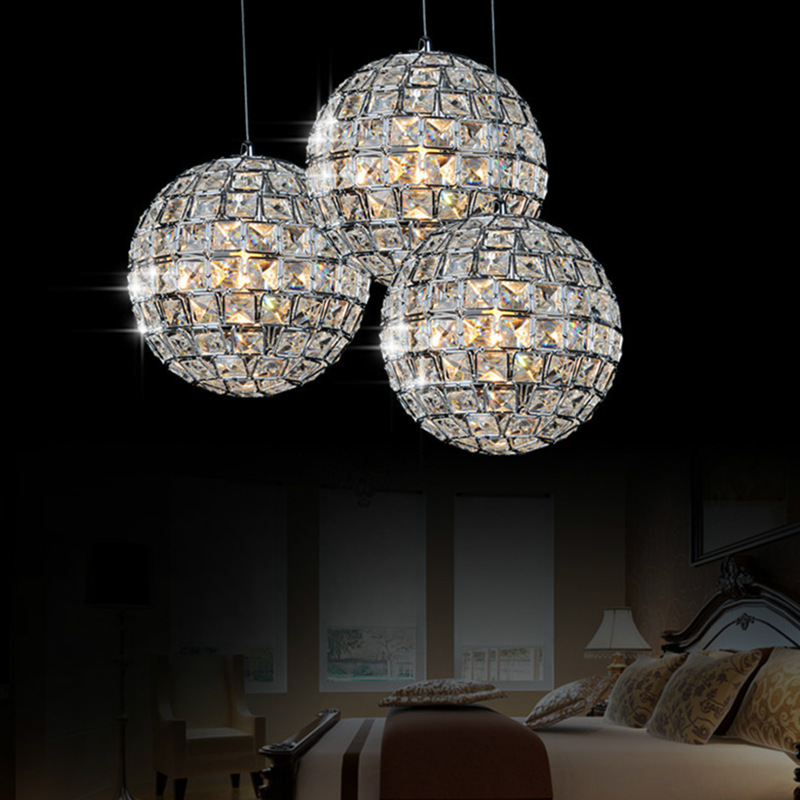 Chandelier living room modern simple creative crystal ball restaurant lights lights round bedroom bar table lamp lighting LED restaurant white chandelier glass crystal lamp chandeliers 6 pcs modern hanging lighting foyer living room bedroom art lighting