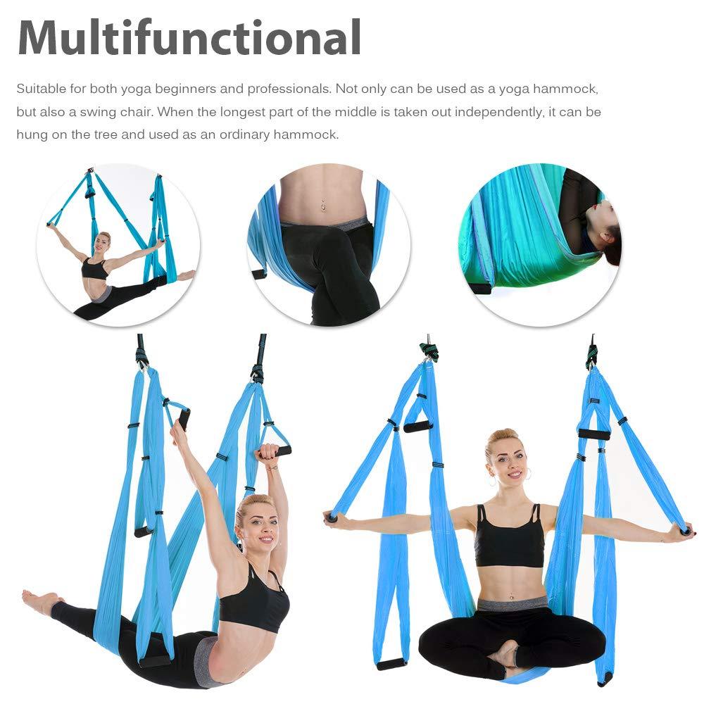 Ensemble de hamac de Yoga aérien Anti-gravité complet ceinture de Yoga multifonction outil d'inversion de Yoga volant pour le corps de Pilates façonnant 15 couleurs - 6