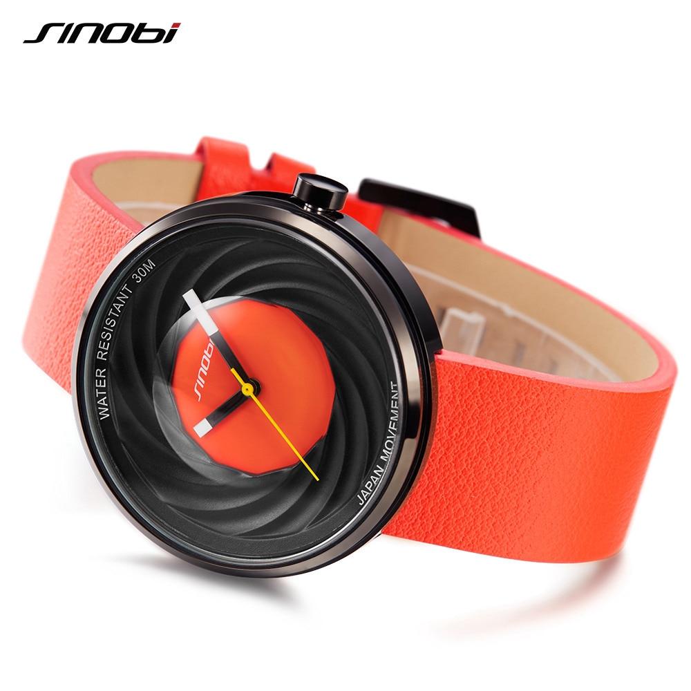 SINOBI Women Men Wrist Watches Ladies Fashion Genuine Leather Wristwatches Japan