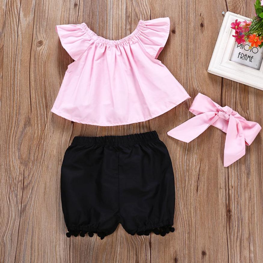 baby Grils summer clothes set 3Pcs Girl Plaid Tops + Headband + Tassel Shorts Girls Outfits Set Baby Girls Clothing Set 2018 3pcs outfit infantil girls clothes toddler baby girl plaid ruffled tops kids girls denim shorts cute headband summer outfits set