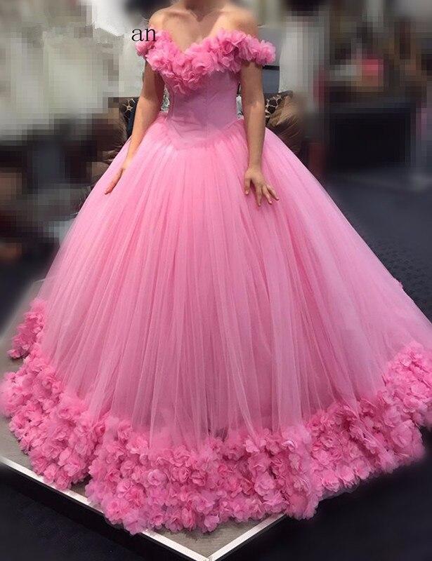 Pink Vestido De Noiva 2019 Muslim Wedding Dresses Ball Gown Off The Shoulder Tulle Flower Boho