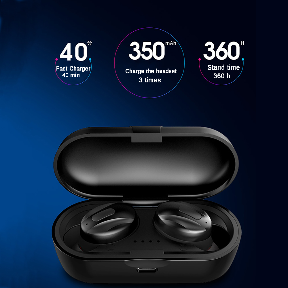 TWS Music Bluetooth Earphone Stereo Earbuds Wireless Headphones Waterproof Noise Cancelling Headset With Charging Box